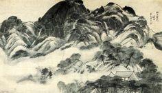 Religious Influence on Korean Art Landscape Art, Landscape Paintings, Korean Crafts, Asian Artwork, Modern Hanbok, Korean Painting, Korean Artist, Pictures To Paint, Fantasy