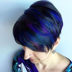 Blue and purple highlights and a cute pixie cut :: RedBloom Salon More