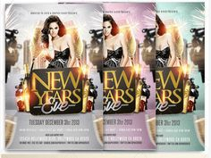 50 Super Cool New Year Party Flyer Templates - Design Freebie Dj Party, Party Flyer, Club Flyers, New Years Party, Flyer Template, Typography, Templates, Design, Letterpress