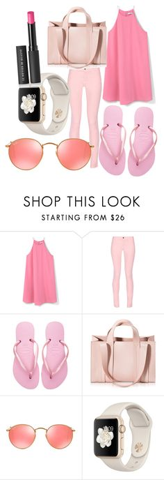 """""""pretty in pink"""" by superdope101 ❤ liked on Polyvore featuring MANGO, Maison Kitsuné, Havaianas, Corto Moltedo, Ray-Ban and Le Métier de Beauté"""