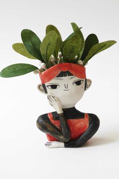 'Pondering' ceramic planter by Two Holds Studio #ceramics #planter