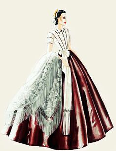 Walter Plunkett design sketches for Vivien Leigh as Scarlett O'Hara in the 1939 film Gone With the Wind