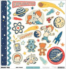 Rocket Age Collection Shape Stickers By October Afternoon Scrapbook Stickers, Diy Scrapbook, Scrapbook Pages, Scrapbooking, Scrapbook Layouts, Planner Stickers, Aliens, Kiwi Lane Designs, October Afternoon