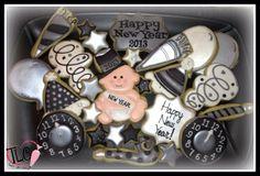 Filled Cookies, Cut Out Cookies, Brownie Cookies, Cookie Bars, Cake Cookies, Sugar Cookies, Decorated Cookies, New Years Eve Snacks, New Years Cookies
