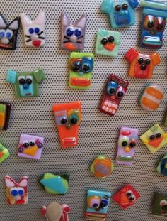 Funky fused glass Magnets  Pacific Gallery Laguna Beach  www.PacificGallery.net