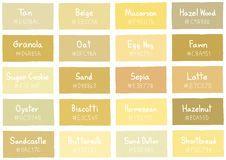 Tone Tan Shade Couleur de fond avec Code et Nom Illustration Colour Shades With Names, Brown Color Names, Shades Of Yellow, Color Shades, Yellow Pantone, Pantone Color, Magazine Name Ideas, Yellow Interior, Z Photo