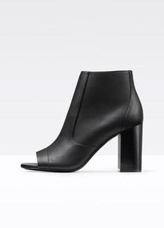 Fionn Peep-Toe Leather Bootie