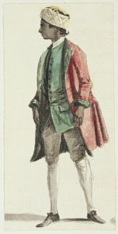 Paul Sandby (1731-1809) A Servant to the Duke of Cumberland circa 1752circa 1770 Pencil, pen and ink and watercolour | 11.9 x 5.8 cm (sheet of paper) | RCIN 914486
