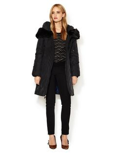 Anna Down Puffer Coat with Faux Fur Trim by T. Tahari at Gilt