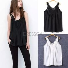 New Women Fashion Sleeveless V-Neck Sexy Lace Patchwork Loose Casual Chiffon Top Blouse_Tees / T-shirt_Women_Women's Fashion Zone & Best Price Clothes