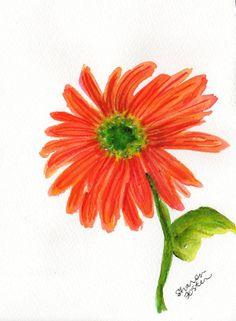 Orange  Gerbera Daisy painting, Original Watercolor Gerber Daisy ART