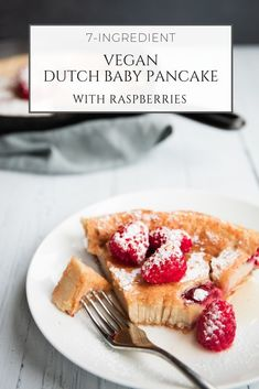 A vegan friendly version of a traditionally very non-vegan dessert. This vegan Dutch baby pancake with raspberries calls for seven basic ingredients and no more than 10 minutes of prep time, for a quick sweet breakfast even when you're strapped for time. Vegan Pancake Recipes, Healthy Breakfast Recipes, Vegan Recipes, Vegan Blogs, Vegan Food, Vegan Sweets, Free Recipes, Quick Vegan Breakfast, Vegan Ideas