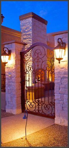 Qualify Your Builder Wrought Iron Gate Designs, Wrought Iron Garden Gates, Wooden Garden Gate, House Gate Design, Small House Design, House Front Gate, Backyard Gates, Facade Lighting, Front Courtyard