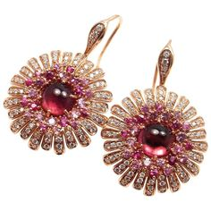 Roberto Coin Pink Sapphire Tourmaline Diamond Rose Gold Earrings | From a unique collection of vintage drop earrings at https://www.1stdibs.com/jewelry/earrings/drop-earrings/