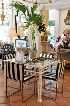 Breakfast #table deocr at #PalmBeach #Mecox #interiordesign #MecoxGardens #furniture #shopping #home #decor #design #room #designidea #vintage #antiques #garden