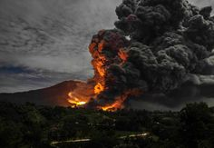 Mount Sinabung, Indonesia, goes bang.