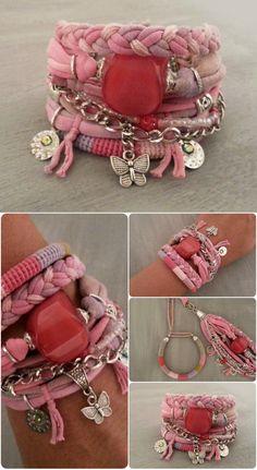 Boho Gypsy Bracelet Pink Salmon Multilayer by vanessahandmade