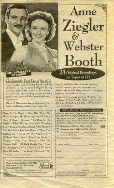ANN ZIEGLER & WEBSTER BOOTH TAPE OR CD PRESS ADVERT