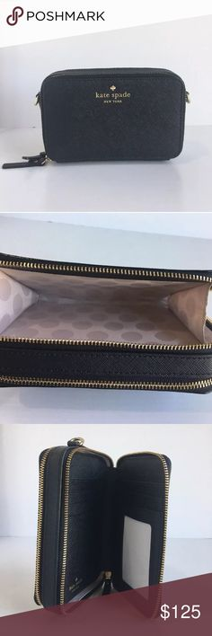 """Kate Spade Cedar Carine Wallet Crossbody Bag Purse Pre-Owned--Great condition! (Only used a handful of times) 🚫Price Firm🚫   Details: • Crosshatched leather with matching trim • 14K Light Gold Plated Hardware • Le Pavillion Dot Printed Faille Lining • Crossbody bag with double zip closure • 6 Credit Card Slots • 1 ID Slot • Slide Pocket • Compartment for smart phone   Product Dimensions: 3.5""""H x 5.7""""W x 1.6""""D kate spade Bags Crossbody Bags"""