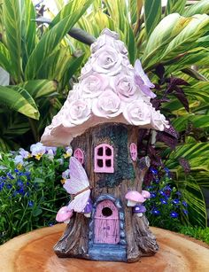 Risultati immagini per flower house fairy Clay Fairy House, Fairy Garden Houses, Smurf House, Rose House, Clay Art Projects, Storybook Cottage, Clay Fairies, Fairy Crafts, Little Houses
