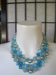 Vintage 1950s 1960s 3 Strand Necklace Aqua Turquoise by girlgal6