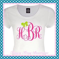 A personal favorite from my Etsy shop https://www.etsy.com/listing/292444279/preppy-monogram-with-bow-fitted-t