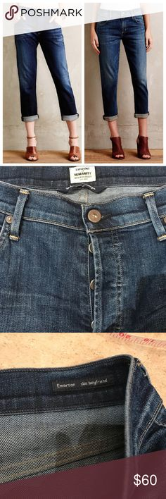 "Anthropologie Emerson Slim Boyfriend Jeans, sz 31 By Citizens of Humanity. In VGUC  Approximate Measurements: 17"" waist 10"" rise  27"" inseam uncuffed Anthropologie Jeans"