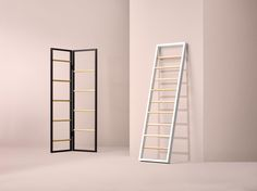 Versa garment ladder by Kvell. Practical and polished, Versa is designed with configuration in mind and can be used leaning or free standing to fit any space. Versa comes in either black or white with natural beech.