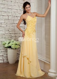 Daffodil Halter Beading Chiffon Elastic Woven Satin Womans Prom Dress. Long, flowing gowns are popular favorites. They are stylish and fashionable �plus they look great on just about any body type. This one is made from a nice chiffon and satin blend. It has a wrapped texture to the bodice, s.. . See More Elastic Woven at http://www.ourgreatshop.com/Elastic-Woven-C941.aspx