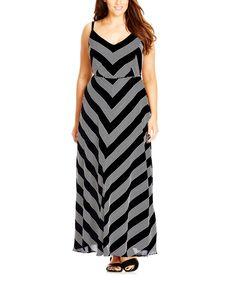 Black Stripe French Kiss Maxi Dress - Plus