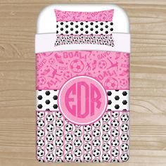 Personalized Soccer Bedding For Kids   Soccer Duvet Or Comforter For Girls    Personalized Pink Soccer