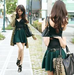 Romwe Cardigan, Giftsahoy Skirt