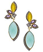 Kanupriya Gold Amethyst Moonstone CZ and Aqua Drop Earrings
