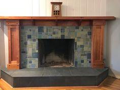 Custom tile and tile design in the Craftsman tradition. Craftsman Tile, Craftsman Interior, Fireplace Design, Tiled Fireplace, Fireplace Ideas, Handmade Tiles, Tile Design, Architecture Design, Family Room