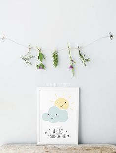 Hello sunshine print Nursery wall art Pastel by kiwiNberries