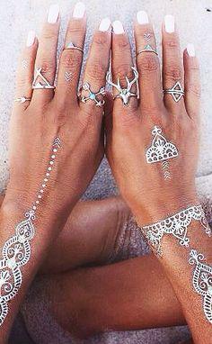 flash tats + boho rings
