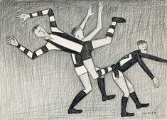 Works on Paper - Cecil John (John) Brack - Page 3 - Australian Art Auction Records Football Themes, Football Match, Football Players, Australian Painters, Australian Artists, Trajan's Column, Bayeux Tapestry, Australian Football, Popular Sports