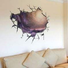 Fange DIY Removable 3D Broken the Wall to Explore the Mystery of the Black Hole Outer Space Art Mural Vinyl Waterproof Wall Stickers Living Room Decor Bedroom Decal Sticker 19.6''x19.6'' * To view further, visit now : DIY : Do It Yourself Today