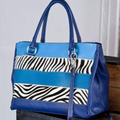Faux Zebra Striped Italian Leather Handbag