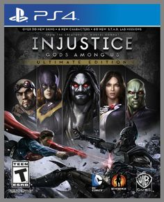 Injustice: Gods Among Us Ultimate Edition - PlayStation 4 Standard Edition  Takes NetherRealm Studios' bold new fighting game includes 6 new characters, over 30 new skins and 60 new S.T.A.R. Labs missions. 30 fan favorite DC icons, including Batman, The Joker, Green Lantern, The Flash, Superman and Wonder Woman. Heroes and villains will engage in epic battles on a massive scale.