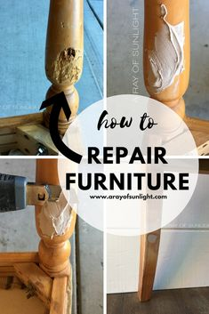 refurbished furniture How to Repair Damaged or Chewed Up Furniture the Easy way with Bondo by A Ray of Sunlight Refurbished Furniture, Farmhouse Furniture, Repurposed Furniture, Rustic Furniture, Antique Furniture, Outdoor Furniture, Inexpensive Furniture, Reproduction Furniture, Small Furniture