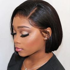 Silky Straight Short Human Hair Bob Wigs Lace Front wig/Full Lace Wig for Black Woman Short Bob Wigs, Short Hair Wigs, Human Hair Lace Wigs, Wig Bob, Human Wigs, Black Women Hairstyles, Straight Hairstyles, Woman Hairstyles, Celebrity Hairstyles