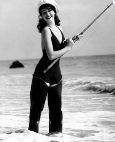 "A classic shot of Ava Gardner, the original ""Woman in Waders"""