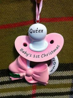 Personalized Babys First Christmas Ornament Blue or Pink Pacifier