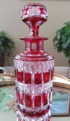 Vintage Baccarat Ruby Red Cut to Clear Perfume Scent Cologne Bottle & Stopper