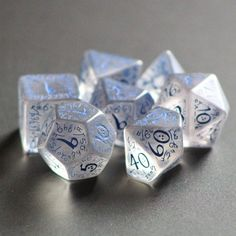 Homebrewing room Set of Q-Workshop transparent Elven dice with blue numbering. Tabletop Rpg, Tabletop Games, 4 Sided Die, Cool Dnd Dice, Game Master, Rpg Wallpaper, Rpg Dice, Dragon Dies, Dungeons And Dragons Dice