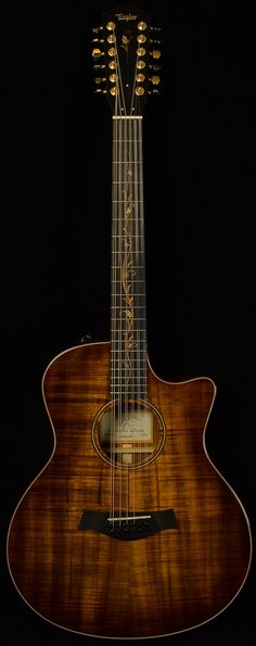 Twelve string acoustic guitar with fingerboard inlay Island Vine. Music Guitar, Cool Guitar, Ukulele, Basic Guitar Lessons, 12 String Guitar, Types Of Guitar, Taylor Guitars, Kinds Of Music, Bass