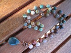 Fancy jasper copper wire wrapped necklace with by mooliemarket, $45.00