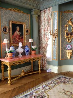 Miniature Enthusiast: August 2014 (jt-interior of the beautiful Belle Pierre dolls house. Pinned earlier on DH board or click through for more pics and info)
