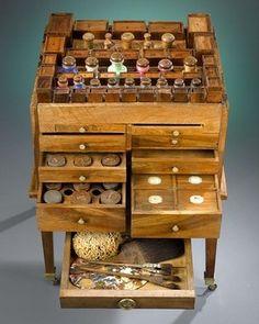 wooden art supply box